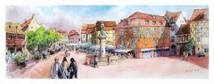 Colmar - Alsace - France (guymoll) Tags: colmar alsace france croquis sketch aquarelle watercolour watercolor statue colombages schwendy tokay