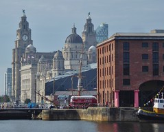 The Three Graces Liverpool (metrogogo) Tags: thethreegraces liverpool albertdock pierhead bus diner royalliverbuilding mersey
