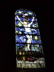 Crucifixion night window (Nekoglyph) Tags: helmsley stainedglass window allsaints church yorkshire crucifixion night stars blue jesus cross sponge stick angels cherubs halo golgotha jerusalem