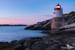 Castle Hill Light at Dusk, Newport, Rhode Island (DawnaMoorePhotography) Tags: blue castlehilllight claibornepellnewportbridge newengland photography ri sunset castlehill castlehilllighthouse castlehilllighthouseatsunset castlehilllighthousenewport coast coastal coastline dawnamoorephotography dawnamoorephotographycom image lighthouseinnewportrhodeisland lighthousesunset longexposure narragansettbay newport newportlighthouse newportri ocean photo photograph picture pink purple relaxing rhodeisland rhodeislandcoast rhodeislandphoto rhodeislandsunset rocks rockycoast seascape seascapephotography travel unitedstates us