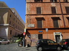 . (RubyGoes) Tags: vialucianomanara trastevere rome italy blue red yellow windows trees garbage crates signs parcometro street graffiti white sky cars