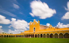 Casey-Herd-2 - Izamal, Mexico (N+C Photo) Tags: d800 yucatan mexico izamal travel traveling traveler traveller travels traveled adventure adventurer adventuring holiday vacation tourism tourist photography nikon nikkor 1635f40 nd ndfilter neutral density filter long exposure slow shutter speed latin america mexican mexicanos monastery facade church convent christian christianity catholic mainarcade architecture architectural architectuur arquitectura history historic old culture cultural cultura sky cielo clouds nubes casey herd grass sunny day