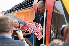 Driver Chris Wells receives the headboard in his name after 43 years of service to the railway. (Ontrackimages) Tags: eastmidlandstrains hst highspeedtrain intercity125 nymr pickeringpaxman