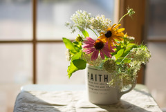 Faith (Captured Heart) Tags: faith flowers summertime summerflowers bouquet coneflowers queenanneslace floralarrangement window