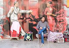 Flamenco dance mural (HellonEarth2006) Tags: andalucia flamencodancemural spain andalusia art artwork europe fleamarket klooking man market men sevilla seville sitting street streetmarket