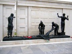 National Arboretum, England - The Armed Forces Memorial. - see description (rossendale2016) Tags: memorial statue bronze two one was world during way unselfish brave soldier injured an tending colleagues soldiers national arboretum england