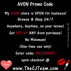 Avon Coupon Code WELCOME10 (cjteamonline) Tags: avon avoncouponcodes cjteam couponcodes finalday freeavon freeshipping goingfast lastday limitedquantities limitedtime newavoncouponcode onedayonly onetimeuse onlinepromotion orderavononline ordertoday promotion sale thecjteam today welcome10 whilesupplieslast