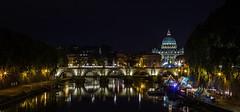 Night view over Tevere river ((:Andrzej:)) Tags: night capture bridge river basilica rzym watykan vatican rome
