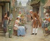 The Flower Seller (Animus Mirabilis) Tags: french painting art françoisadolphegrison flowerseller stand market gentleman woman house town building