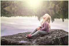 my little dream ❤️❤️❤️ (D.Sinkute) Tags: girl jente lake dream dreaming child beautiful sweet small rock norge norway photosession canon 50mm sky reflection sunshine look