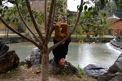 Naughty boy (MelindaChan ^..^) Tags: hunan china 湖南 village 勾藍瑤寨 water pond rural house tree countryside ancient heritage culture life boy play naughty