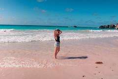 Horseshoe Bay, Bermuda (audsthetics) Tags: beach water ocean sea sky rock natural formations seascape oceanscape landscape travel adventure bermuda horseshoebaybeach horseshoebay horseshoe bay girl bathingsuit portrait portraitphotography