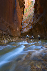 Narrows traffic (Brian Knott Photography) Tags: zion zionnationalpark utah desert slotcanyon zioncanyon canyon thenarrows narrows water flowing rushing boulders rocks virginriver creek river stream people hikers hiking backpacking wallstreet