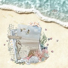 Seashore (tina777) Tags: scrapbooking page serif craft artist digikit seashore seahorse
