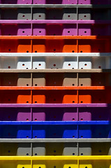 Stacks of colour (James_D_Images) Tags: colour trays stacked purple gray red white blue yellow granvilleisland publicmarket vancouver britishcolumbia