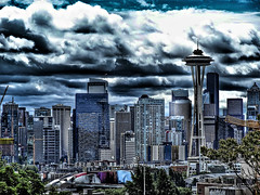 cloudy and rainy day in seattle washington (DigiDreamGrafix.com) Tags: seattle space financial scene modern architecture building center city downtown office skyscraper tall tower urban evening us usa cityscape landmark famous skyline district needle metropolis sundown america destinations washington metropolitan megalopolis wa fog rain smog clouds cloudy sky