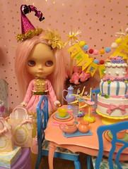 It's Madame Bon Bon's Birthday! (Primrose Princess) Tags: blythe doll takara customblythe morganorton pinkalpacareroot pink princess birthday party dolls toys fantasy wonderland barbie cake teaparty vintage atomicblythe cosette dollydreamland