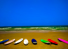 Waiting (Voyen_Ras) Tags: surf sea sun summer boards colors color vivid outdoor seek find wait waiting waves patience life travel enjoy happy chill chillout freedom explore create sport relax smooth ride activity vacation daily random photography urban israel mediterranean beach flickr contrast blue red green sky clear nature