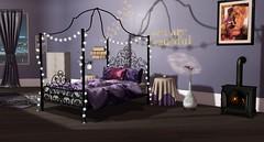 Melange Canopy Bed (Akaesha Revnik) Tags: second life secondlife akaesha react animated furniture animations couple bed bath sofa set