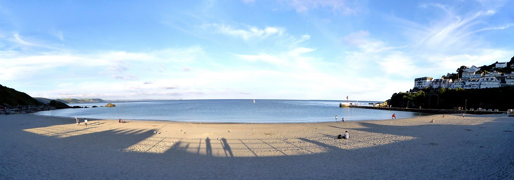 Long shadows in Looe. Panorama,  Panasonic Lumix DMC-TZ70.