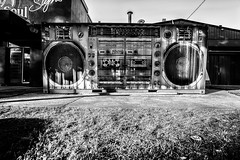 Art & Soul (Leighton Wallis) Tags: sony alpha a7r mirrorless ilce7r 1635mm f40 emount sydney alexandria nsw newsouthwales australia art graffiti mural shippingcontainer stereo boombox
