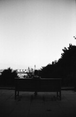 Alissa (Jan Meifert) Tags: ilford pan 400 analogue analog film 35mm bw sw portraiture portrait porträt hamburg altona port harbour hafen bench bank jan meifert