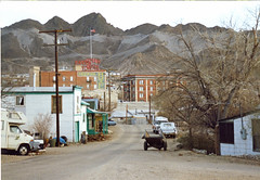 Tonopah, Nevada - Near Downtown - 1990 (tonopah06) Tags: tonopah nevada nv downtown waterstreet waterst 1990 kodacolor print sunset mizpahhotel businessdistrict