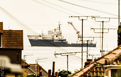 The Galatea seen across the Broadstairs rooftops (philbarnes4) Tags: galatea workboat broadstairs thanet kent england water sea d5500 coast coastline buoymaintenance buoy maintenance trinityhouse roof rooftops houses roofs television aerials unitedkingdom boat vessel