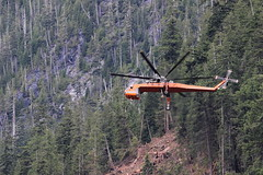 Mariah (Jon Christall) Tags: canada bc britishcolumbia vancouverisland zeballos logging helilogging heli helicopter skycrane sikorsky s64 s64e erickson ericksonskycrane aircraft mariah forest forestry orange n172ac aircrane