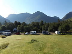 Morning view of Bidean nam Bian from Glencoe Campsite, Highland, Scotland, 24 July 2017 (AndrewDixon2812) Tags: glencoe highland scottish scotland loch leven bideannambian campsite visitors centre mountains