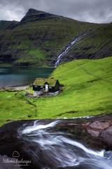 Saksun Cottage (Hibernia Landscapes (sjwallace9)) Tags: faroeislands water river house cottage village lake mood landscape longexposure storm