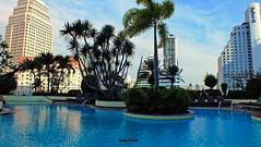 pool in the city... (Jinky Dabon) Tags: fujifilmfinepixhs35exr outdoorpool swimmingpool windsorhotel sukhumvit bangkok radissanblu sky bluesky city downtown