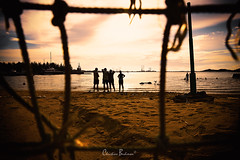Enjoying Sunset (xian_budiman) Tags: soccer sunset landscape sea seascape holiday resort silhouette nikon d750 tamron 2470 family friends beach batam indonesia
