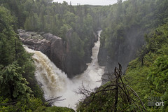 AquasabonFalls_RiverGorgeTerraceBayON (Sandi Beaudoin) Tags: transcanadahwy ontario ontariocanada canada lakesuperior terrancebay marathon aquasabonfallsrivergorge waterfall gorge river lake water trees pines island sky blue green wet forest clouds white black red sticks stones landscape mountains hilly vista