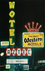 Vintage Postcard - Aztec Motel Sign, Buena Park, Calif. (GONE) (hmdavid) Tags: vintage postcard bestwestern motel aztec buenapark california disneyland movieland 1960s knottsberryfarm sign