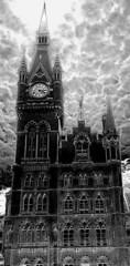 Gothic revival hotel (Snapshooter46) Tags: clocktower gothicrevival saintpancras london monochrome photosketch blackandwhite architecture georgegilbertscott renaissancehotel