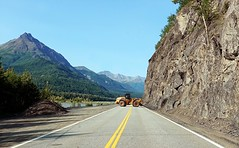 Drivers beware - Alaska (JLS Photography - Alaska) Tags: alaska alaskalandscape road glennhighway highway mountains mountainpeaks rocks slide maintenance jlsphotographyalaska scenery landscape lastfrontier nature vehicle