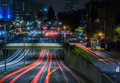 the toyko bowl (pbo31) Tags: bayarea california nikon d810 color july 2017 summer boury pbo31 city urban sanfrancisco night dark bridge infinity lightstream motion traffic roadway japantown gearyboulevard overpass black over fillmorestreet bowl toyko