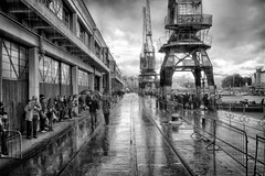 Downpour (martbike) Tags: bristol docklands rain people shelter grey blackandwhite hdr harbour reflection