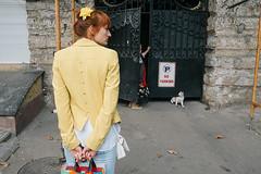 Odessa, Ukraine (f.d. walker) Tags: easterneurope europe odessa ukraine cat candidphotography candid color clothes colorphotography city woman women yellow kitten door streetphotography street soviet sovietunion layers
