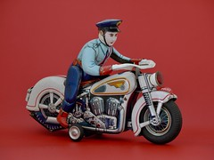 Police, Modern Toys 1960 (lord enfield) Tags: police tin toy harley indian moto motorcycle bike sixties blechspielzeug