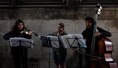 Utrecht Domtoren Street Concert (tvdijk19) Tags: street concert art fuji xt1 utrecht dom students classic music people violin bas alt trio musicians doublebass urbanarte