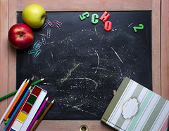 Apple and chalkboard. (lyule4ik) Tags: apple school student background board chalkboard back black blackboard chalk education fruit green paper wood book class classroom college color concept copy copyspace desk drawing learn life notebook notepad pen pencil product red space study supplies table teach tools university wooden write abc teacher alphabet letters backtoschool books closeup