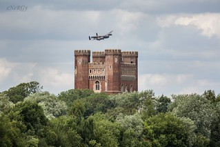 Lancaster bomber over Tattershall castle