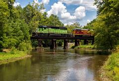 Crossing the Buck Creek (Wheelnrail) Tags: io iory oc ohio central emd sd402 locomotive rail road train trains bridge washington court house b turn local freight springfield quincy