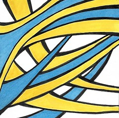 (Abstract 777) Tags: abstract abstractart penandink psychedelic psychedelicart blue yellow blueandyellowdrawing sharpies sharpieart atc drawing modernart postmodernart outsiderart doodle doodles doodleart