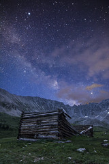 Mining Ruins and Milky Way (Aaron Spong Fine Art) Tags: mayflower gulch milky way boston mine ruins cabin house starry night sky colorado breckenridge co vertical landscape old mining log cabins history historical