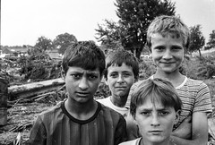 Romania : children in a devastated village. (rvjak) Tags: roumanie romania inondation flood black white noir blanc nikon f3 children enfants enfant kids sad triste film argentique pellicule