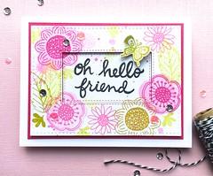 Oh Hello Friend (The Queen's Scene) Tags: card cardmaking colorthrowdown floraandfauna florafaunaclear thinkingofyoucard flowers floral handmade pink green thequeensscene