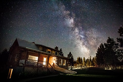 Milkyway and cabin (michaelraleigh) Tags: galaxy landscape f28l serene stars 2035mm canon pinetrees longexposure country beautiful dark outdoors secluded canoneos5dmarkii countryside montana field